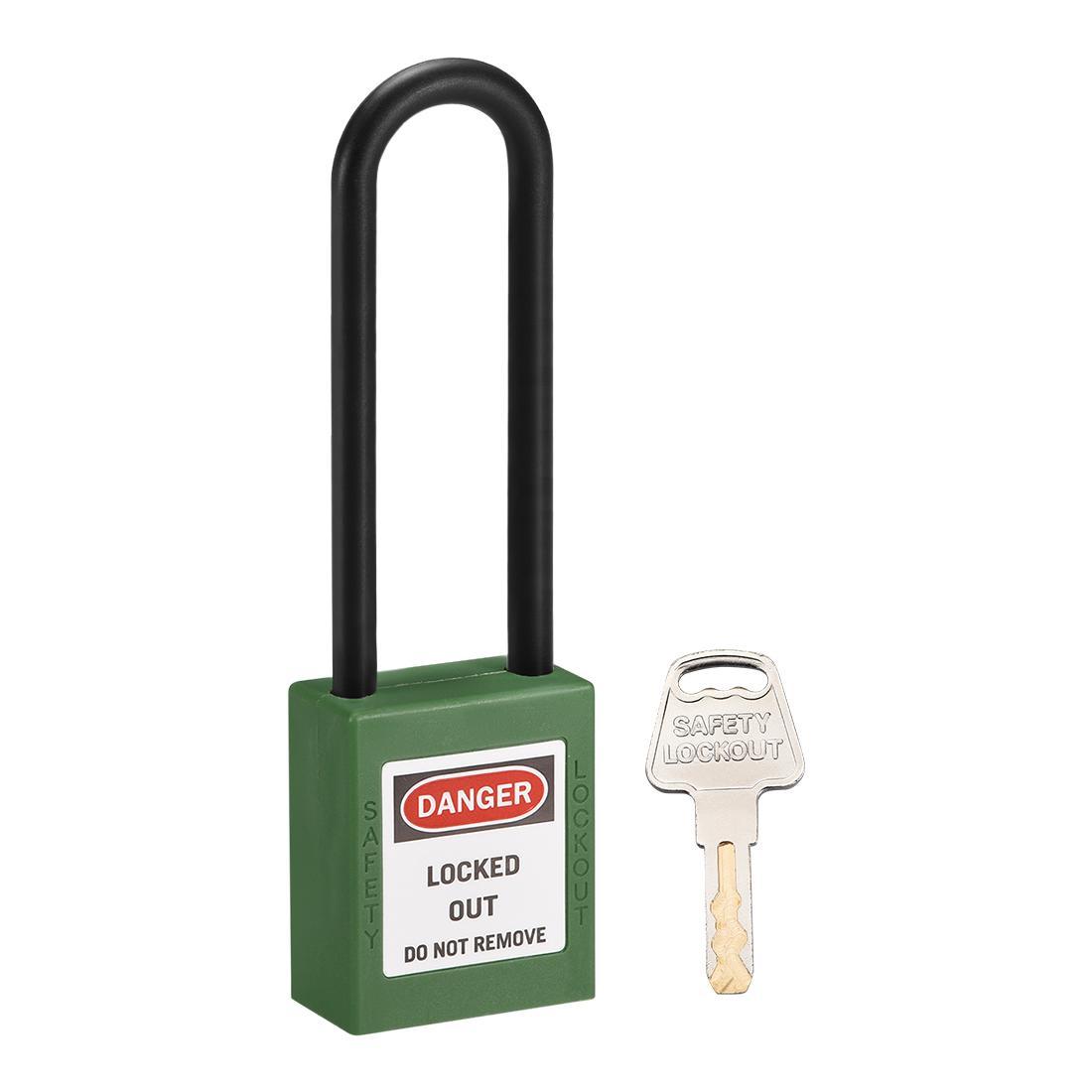 Lockout Tagout Locks 3 Inch Shackle Key Alike Safety Padlock Plastic Lock Green