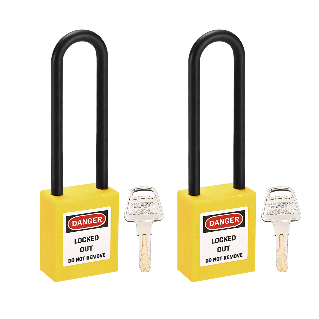 Lockout Tagout Locks 3 Inch Shackle Key Alike Safety Padlock Plastic Yellow 2pcs