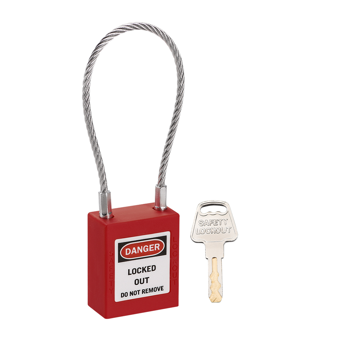 Lockout Tagout Locks 3.3 Inch Shackle Key Alike Safety Padlock Plastic Lock Red