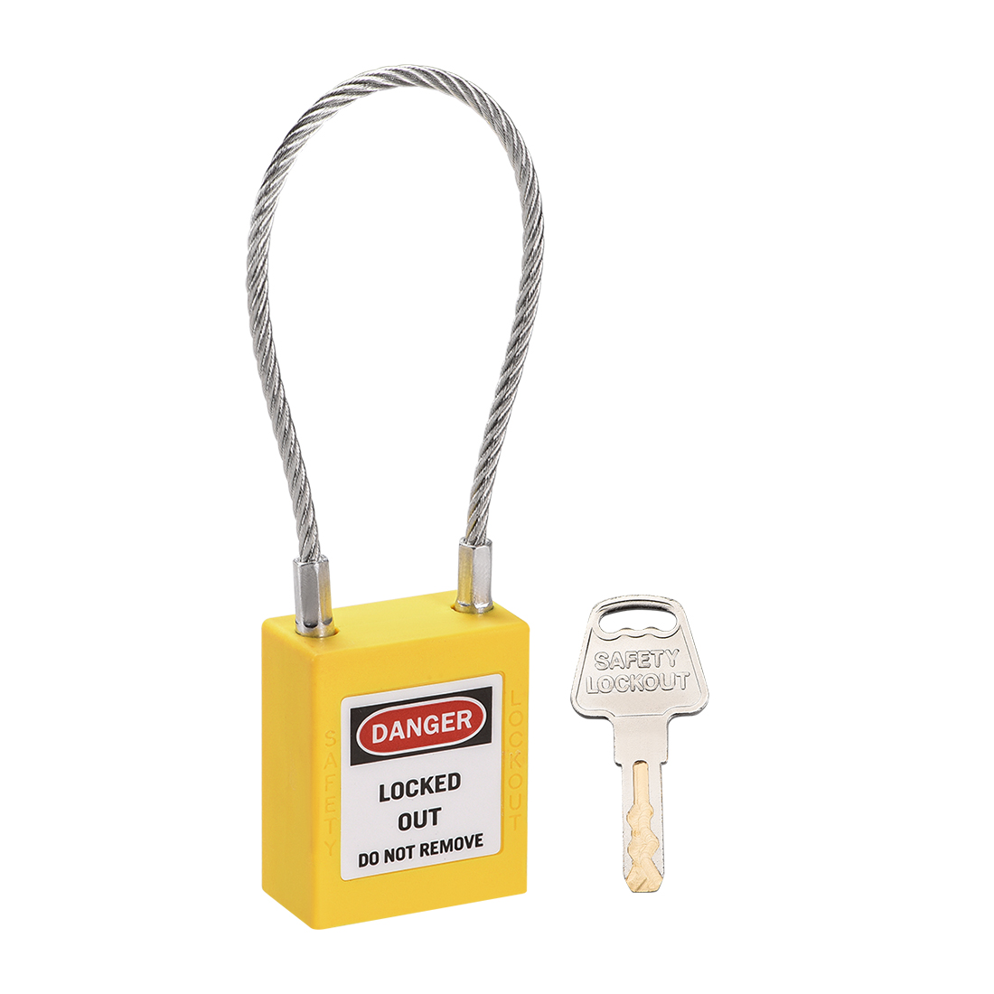 Lockout Tagout Locks 3.3 Inch Shackle Key Alike Safety Padlock Plastic Yellow