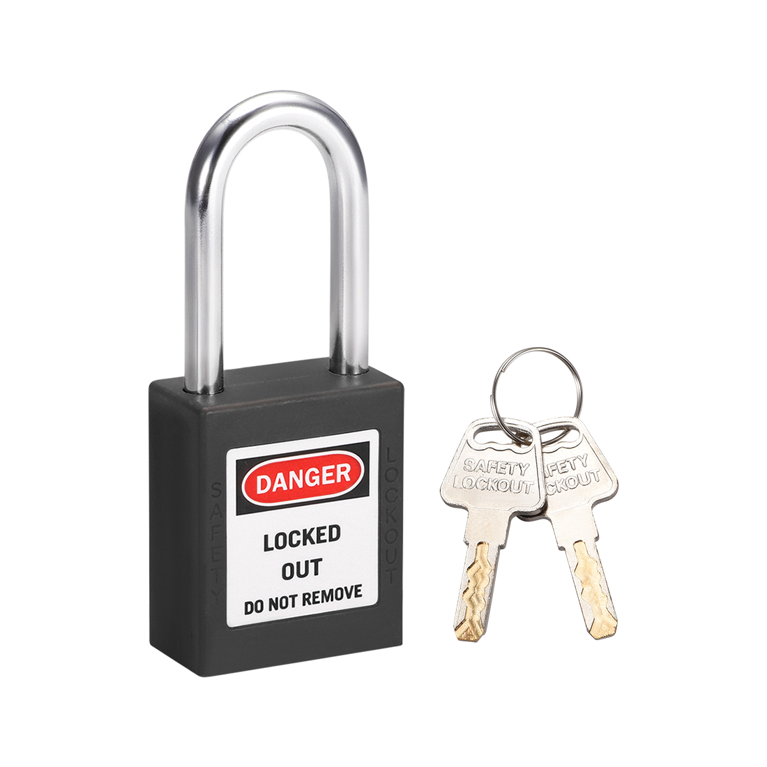 Lockout Tagout Locks 1-1/2 Inch Shackle Key Different Plastic Padlock Black