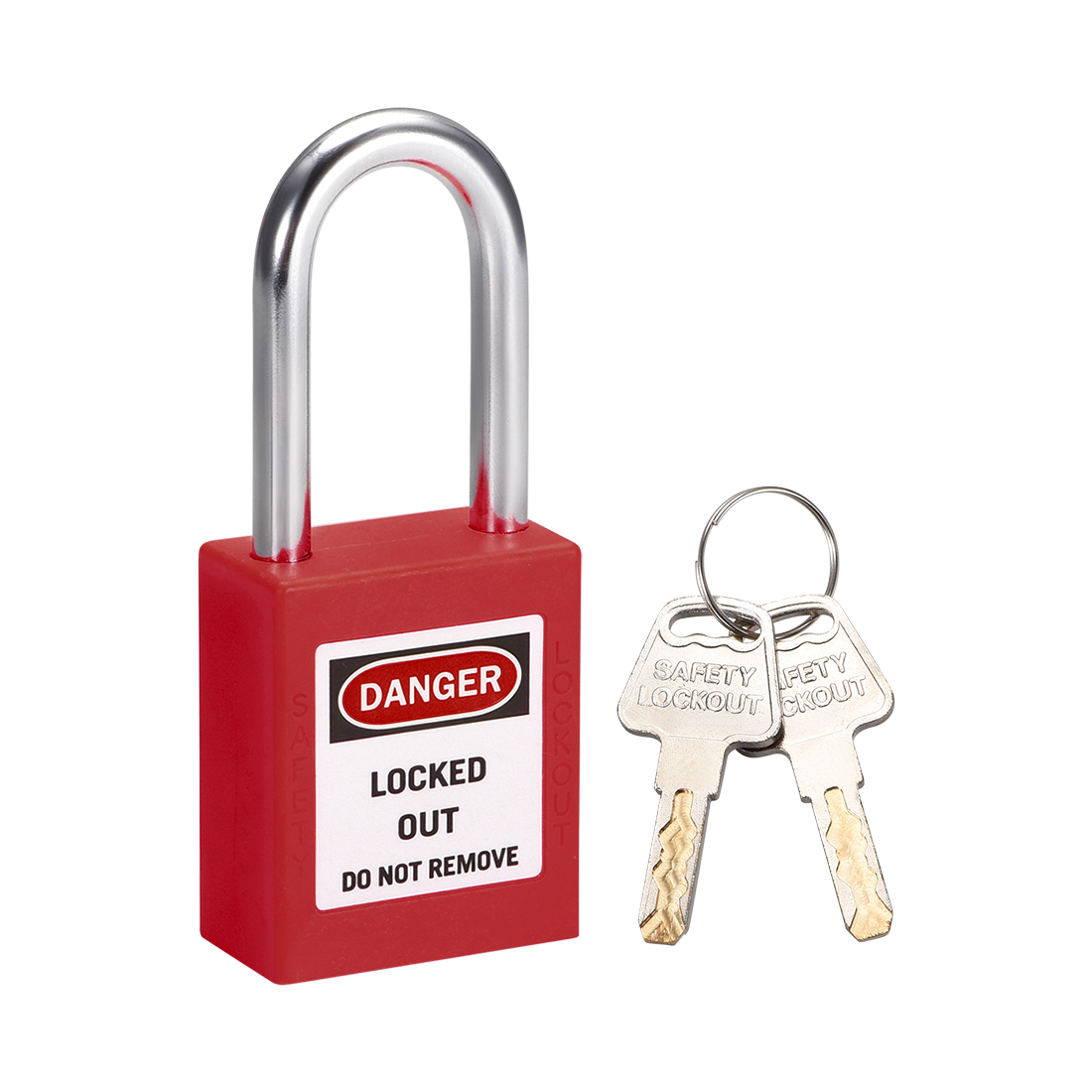 Lockout Tagout Locks 1-1/2 Inch Shackle Key Different Safety Padlock Plastic Red