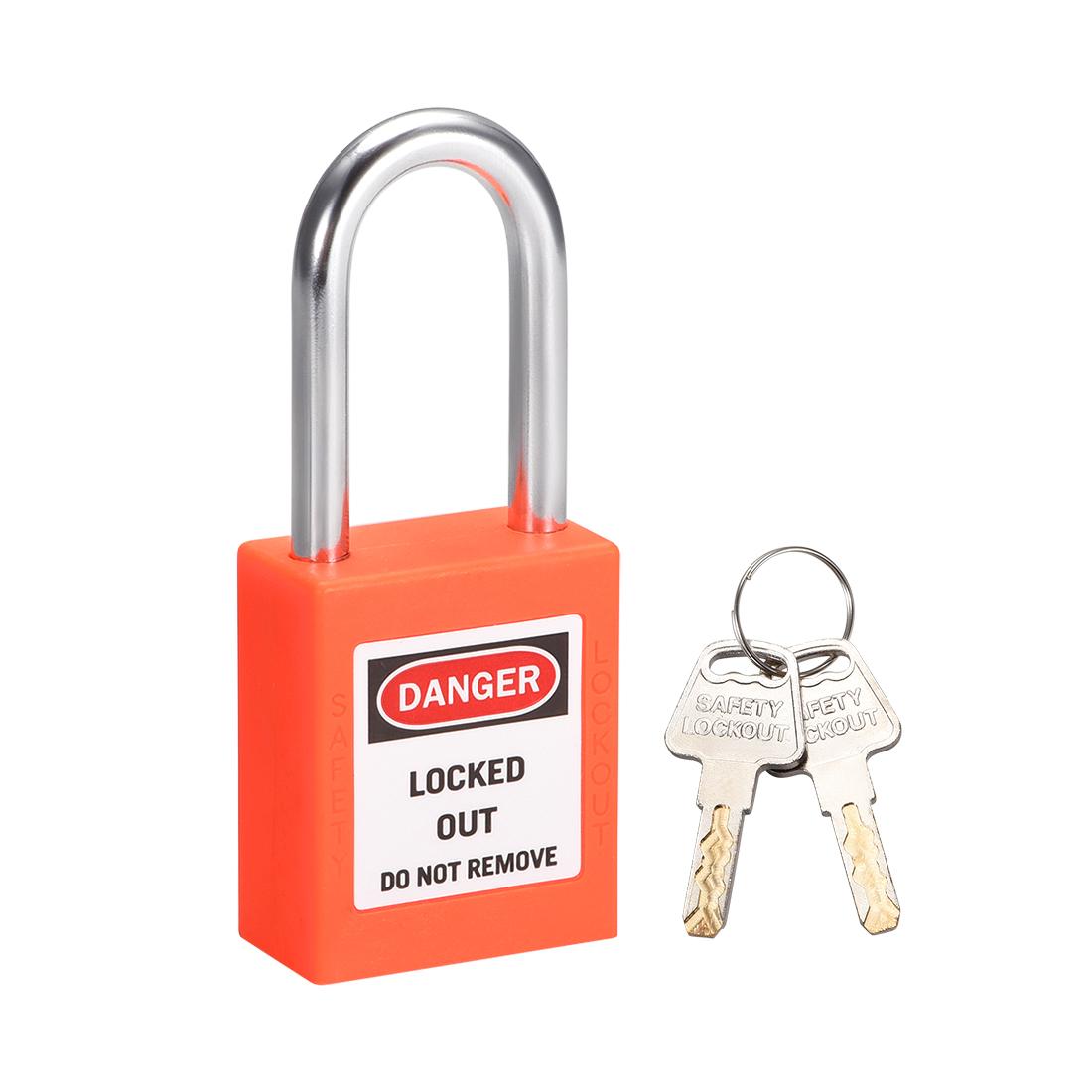 Lockout Tagout Locks 1-1/2 Inch Shackle Key Different Safety Padlock Lock Orange