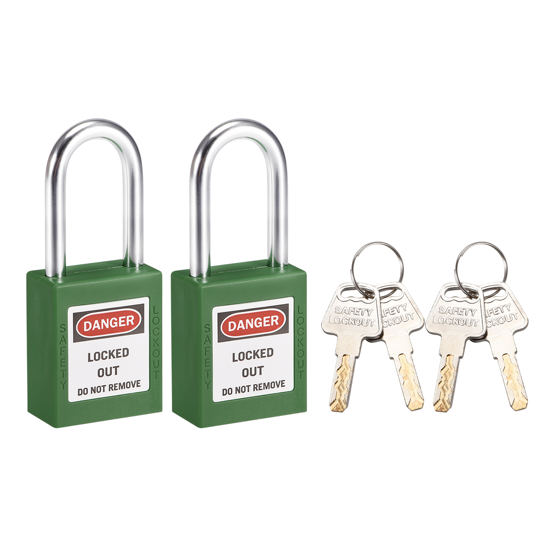 Lockout Tagout Locks 1-1/2 Inch Shackle Key Different Safety Padlock Green 2pcs