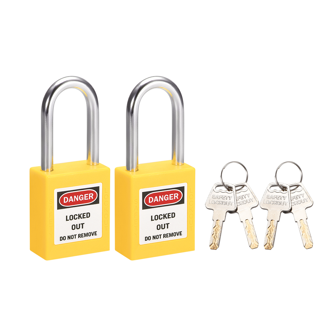 Lockout Tagout Locks 1-1/2 Inch Shackle Key Different Padlock Yellow 2 Pcs