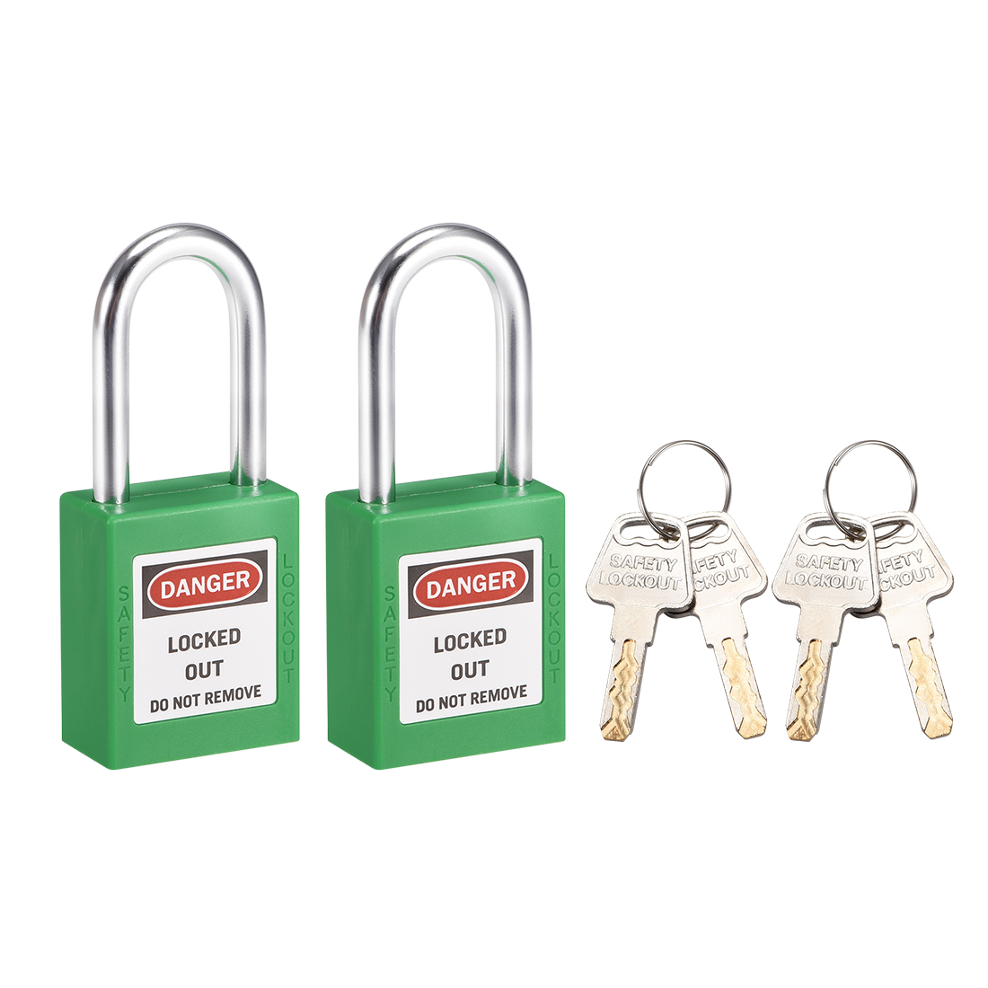 Lockout Tagout Locks 1-1/2 Inch Shackle Key Different Padlock Grass Green 2 Pcs