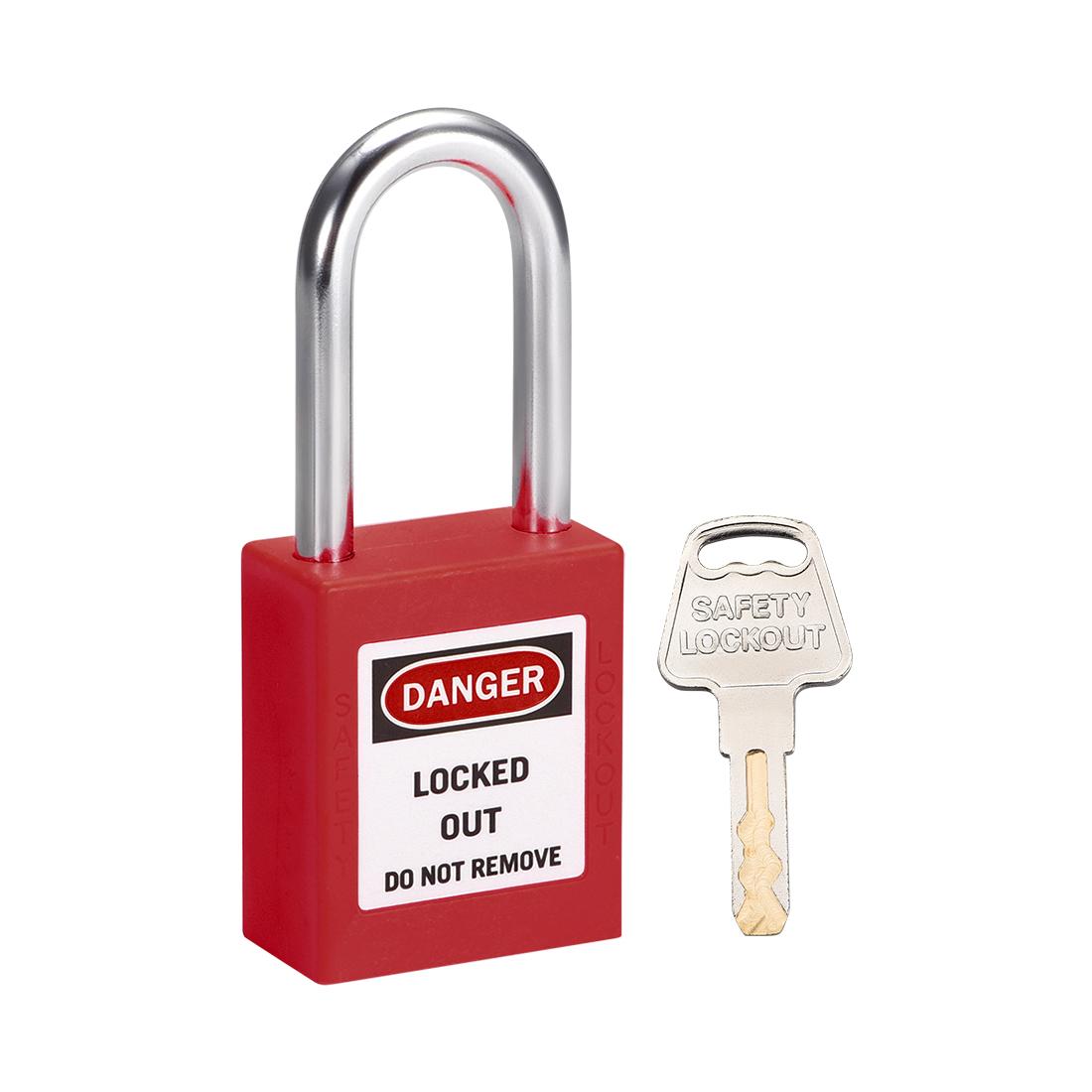 Lockout Tagout Locks 1-1/2 Inch Shackle Key Alike Safety Padlock Plastic Red