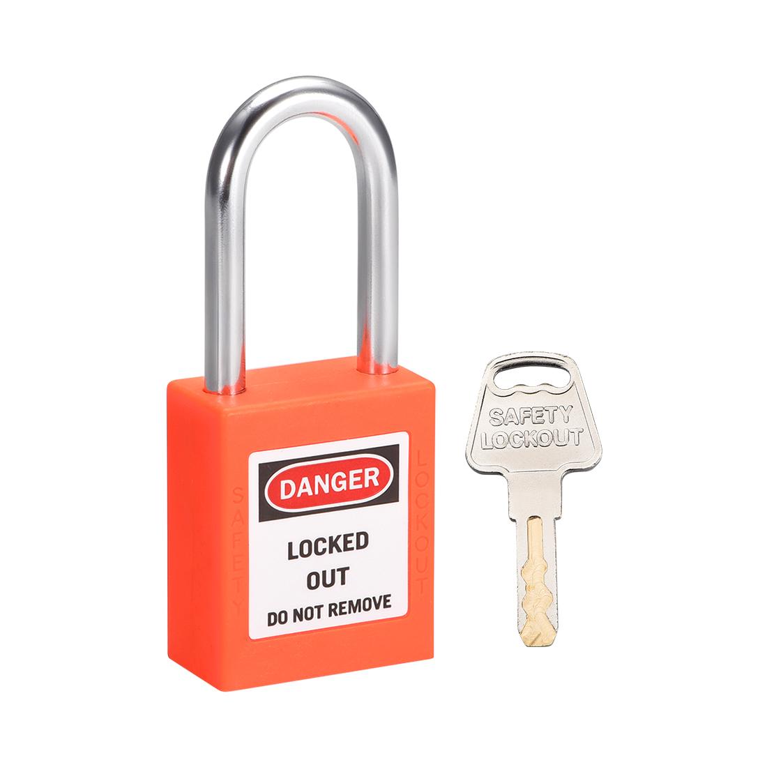 Lockout Tagout Locks 1-1/2 Inch Shackle Key Alike Safety Padlock Plastic Orange