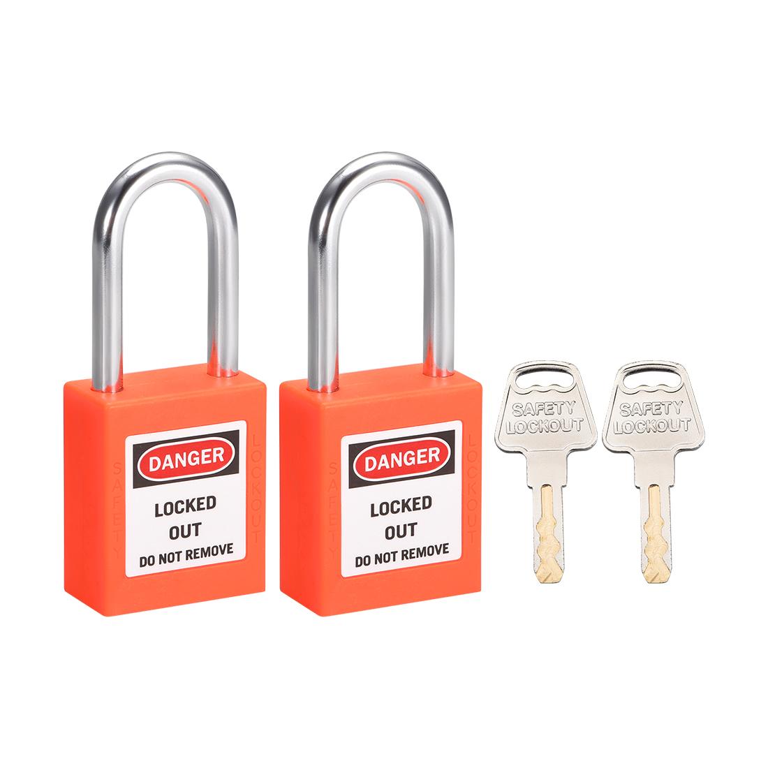 Lockout Tagout Locks 1-1/2 Inch Shackle Key Alike Safety Padlock Orange 2 Pcs