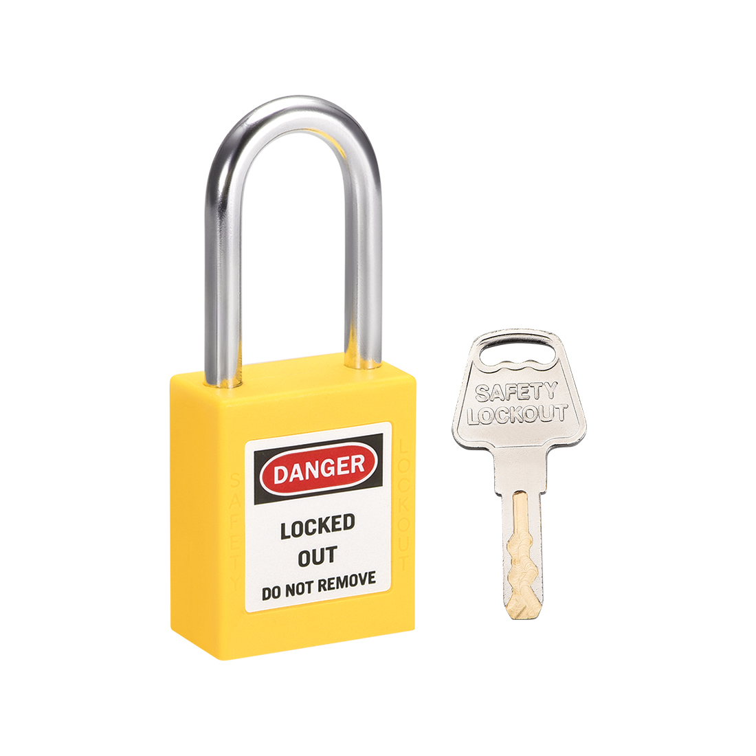 Lockout Tagout Locks 1-1/2 Inch Shackle Key Alike Safety Padlock Plastic Yellow