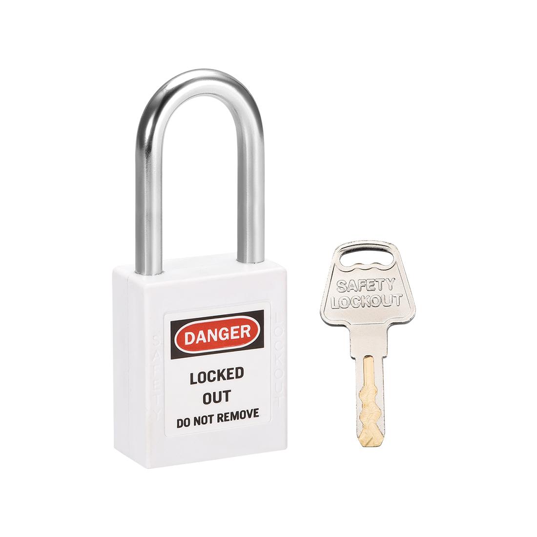 Lockout Tagout Locks 1-1/2 Inch Shackle Key Alike Safety Padlock Plastic White