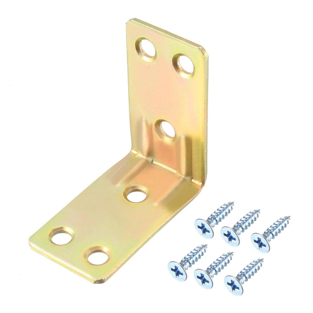 Corner Brace, 42mm x 42mm Zinc Plated Joint Right Angle Bracket w Screws, 6 Pcs