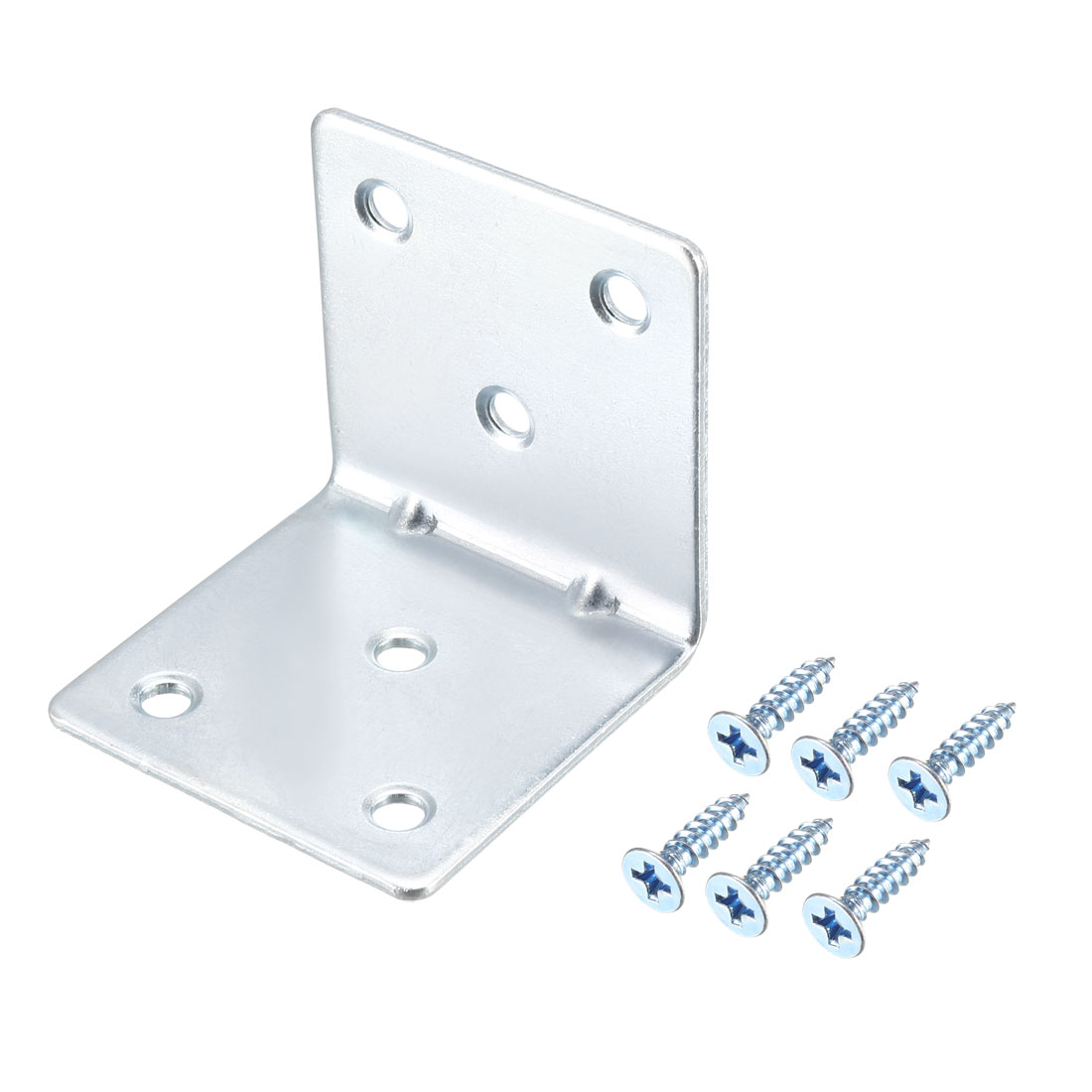 Corner Brace, 51x50x51mm Zinc Plated Joint Right Angle Bracket w Screws, 15 Pcs