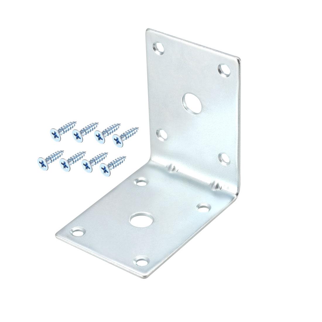 Corner Brace, 71mm x 71mm Zinc Plated Joint Right Angle Bracket w Screws, 6 Pcs