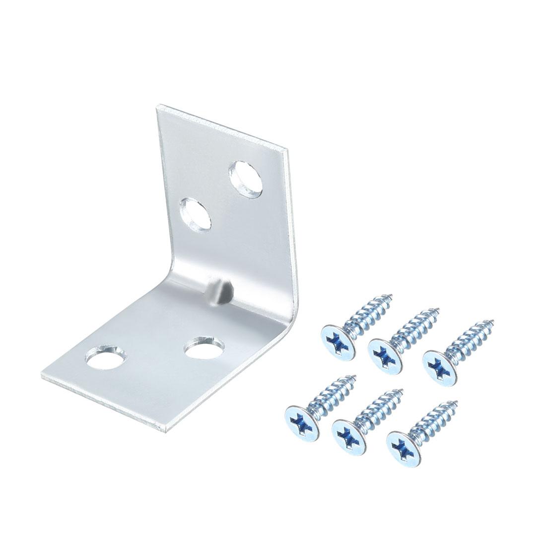 Corner Brace, 26mm x 26mm Zinc Plated Joint Right Angle Bracket w Screws, 20 Pcs