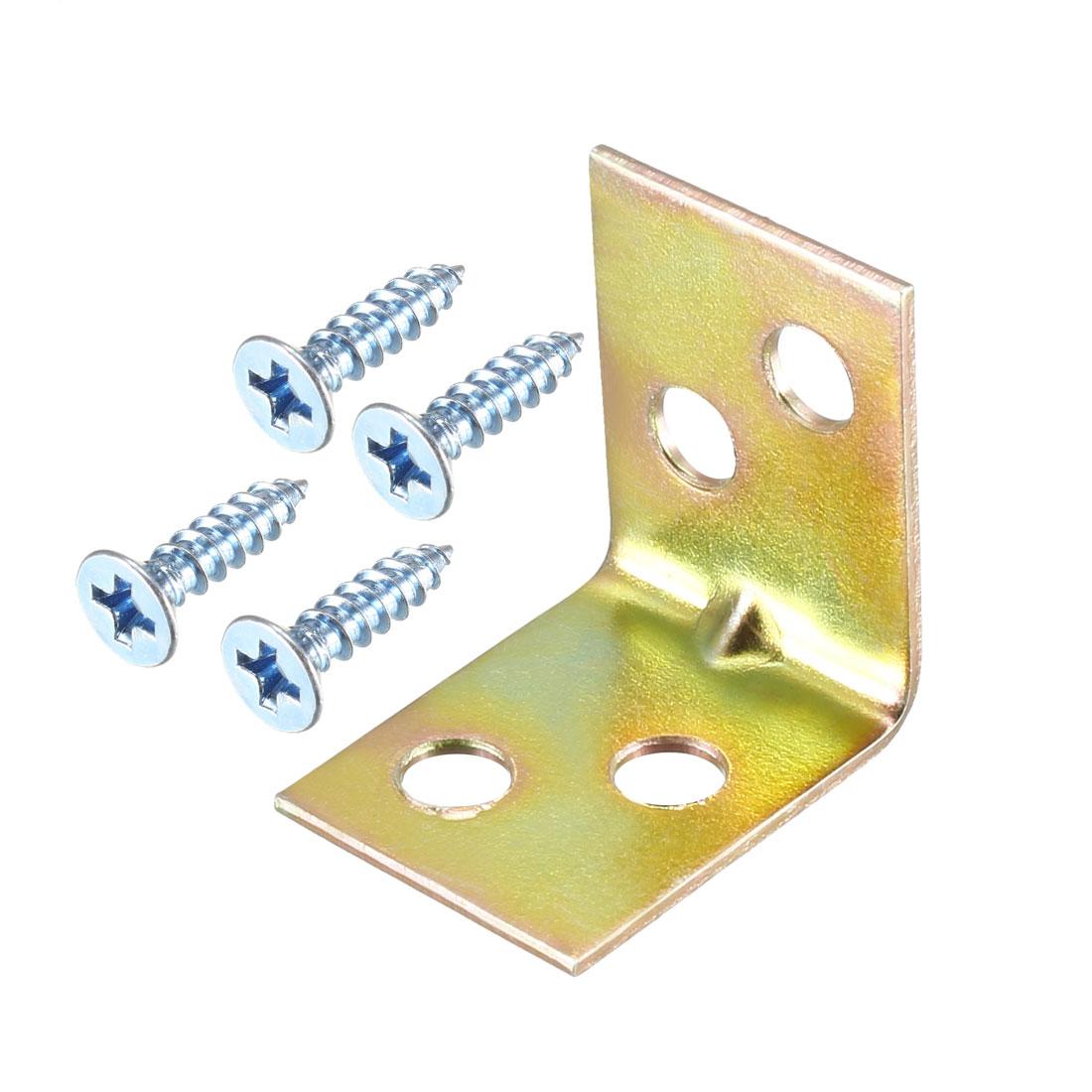 Corner Brace, 22mm x 22mm Zinc Plated Joint Right Angle Bracket w Screws, 50 Pcs