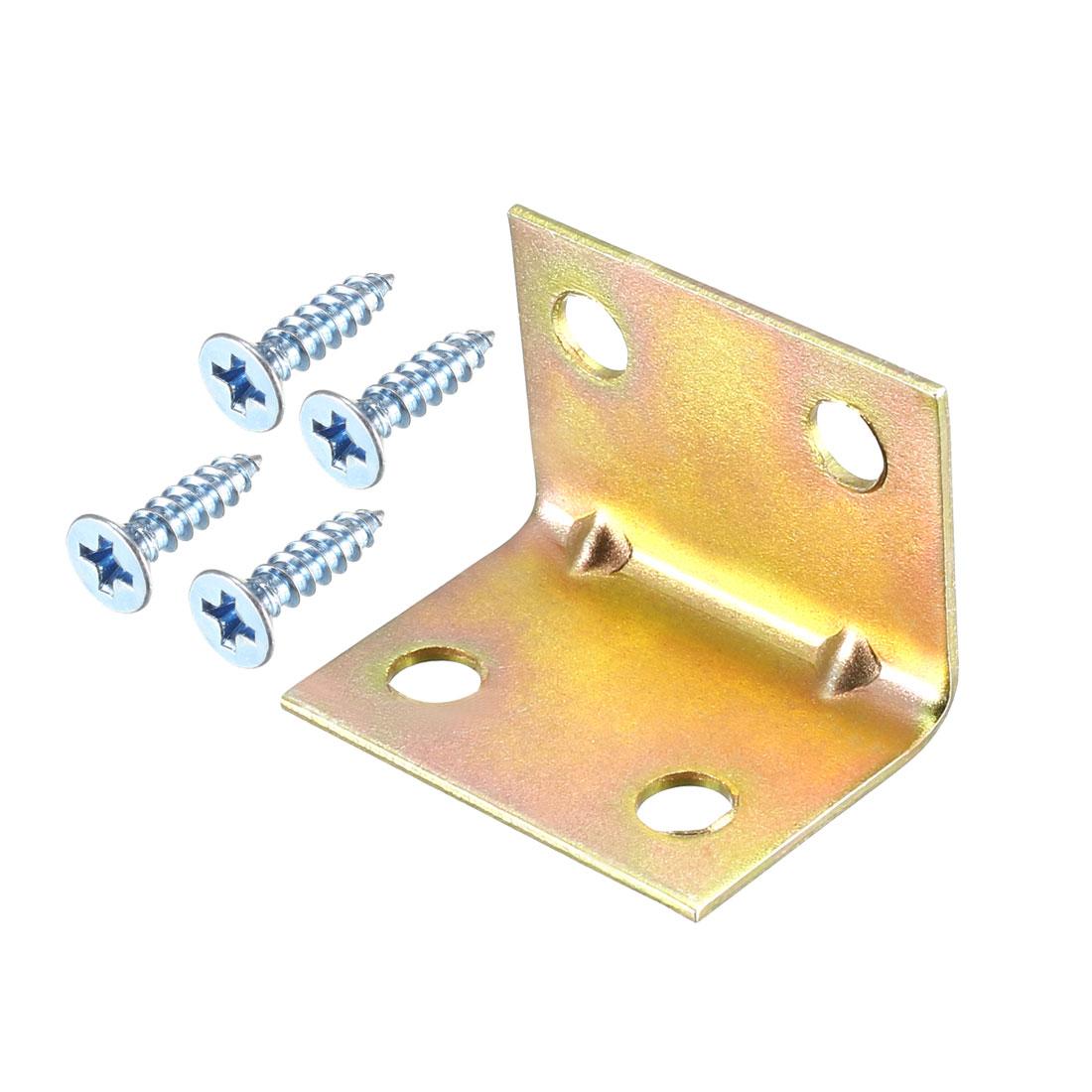Corner Brace, 18mm x 24mm x 18mm Zinc Plated Angle Bracket with Screws, 20 Pcs
