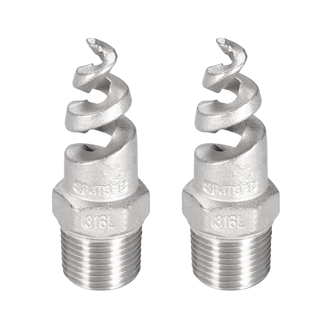 Spiral Nozzle, 3/8BSPT 316 Stainless Steel Mist Sprinkler, 2 Pcs (Silver Tone)