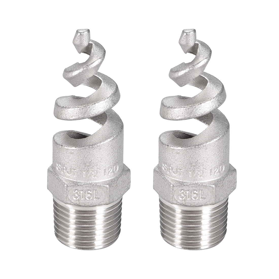Spiral Nozzle, 1/2BSPT 316 Stainless Steel Mist Sprinkler, 2 Pcs (Silver Tone)