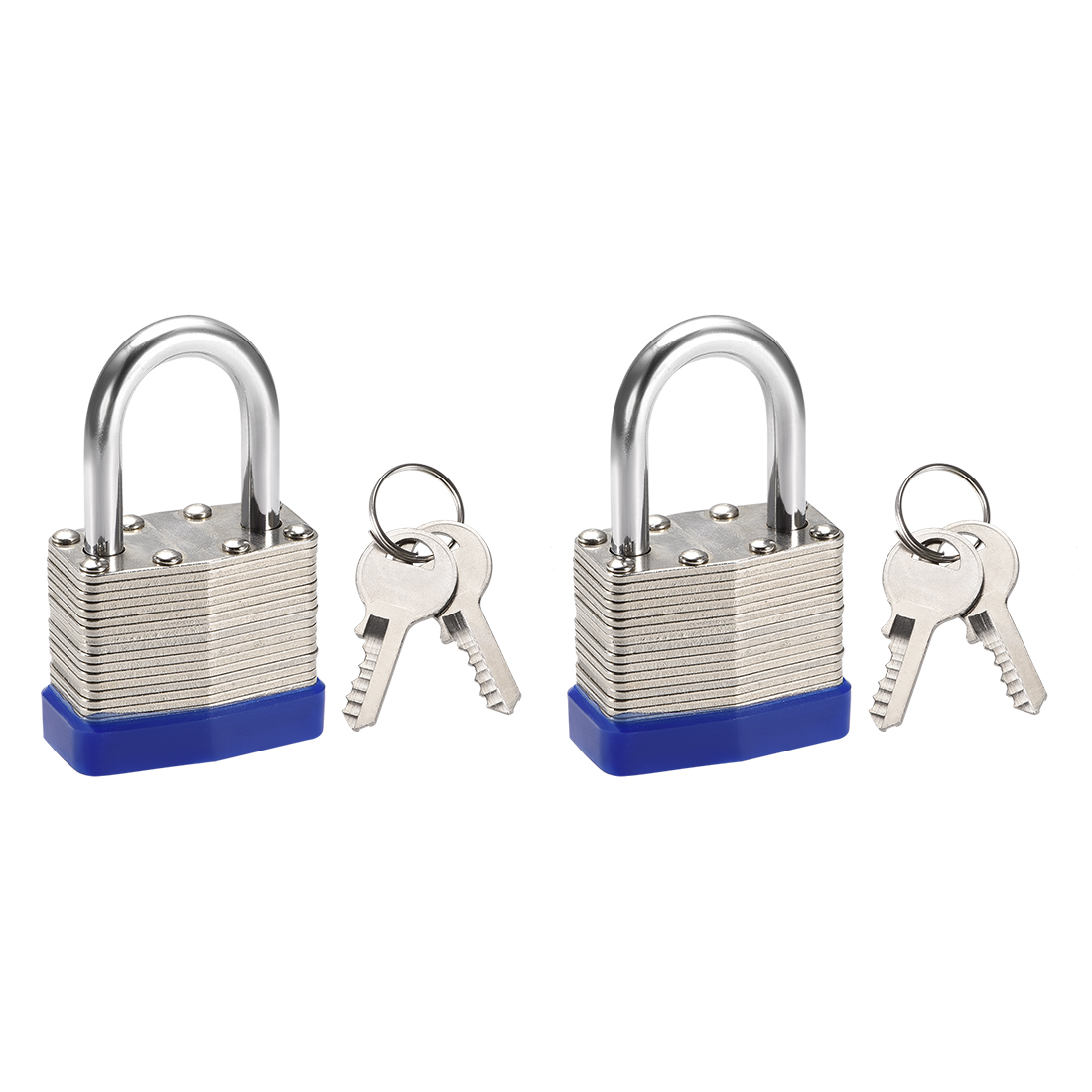 2pcs 1 Inch Shackle Key Different Safety Padlock Steel Lock