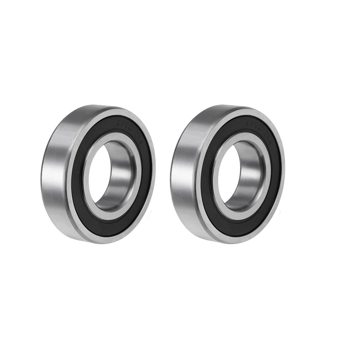 6206-2RS Ball Bearing 30x62x16mm Double Sealed ABEC-3 Bearings 2pcs