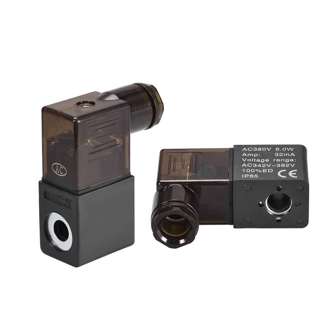 AC380V 6W Electric Solenoid Air Valve Coil w Red Light,Black,2pcs