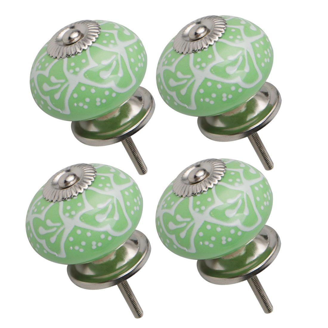 Ceramic Knob Drawers Round Pull Handle Cabinet Wardrobe Dresser Door 4pcs Green
