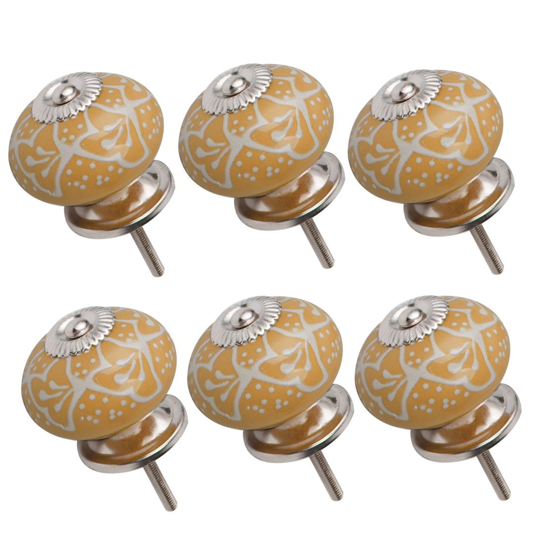 Ceramic Knob Drawers Round Pull Handle Cabinet Wardrobe Dresser Door 6pcs Yellow
