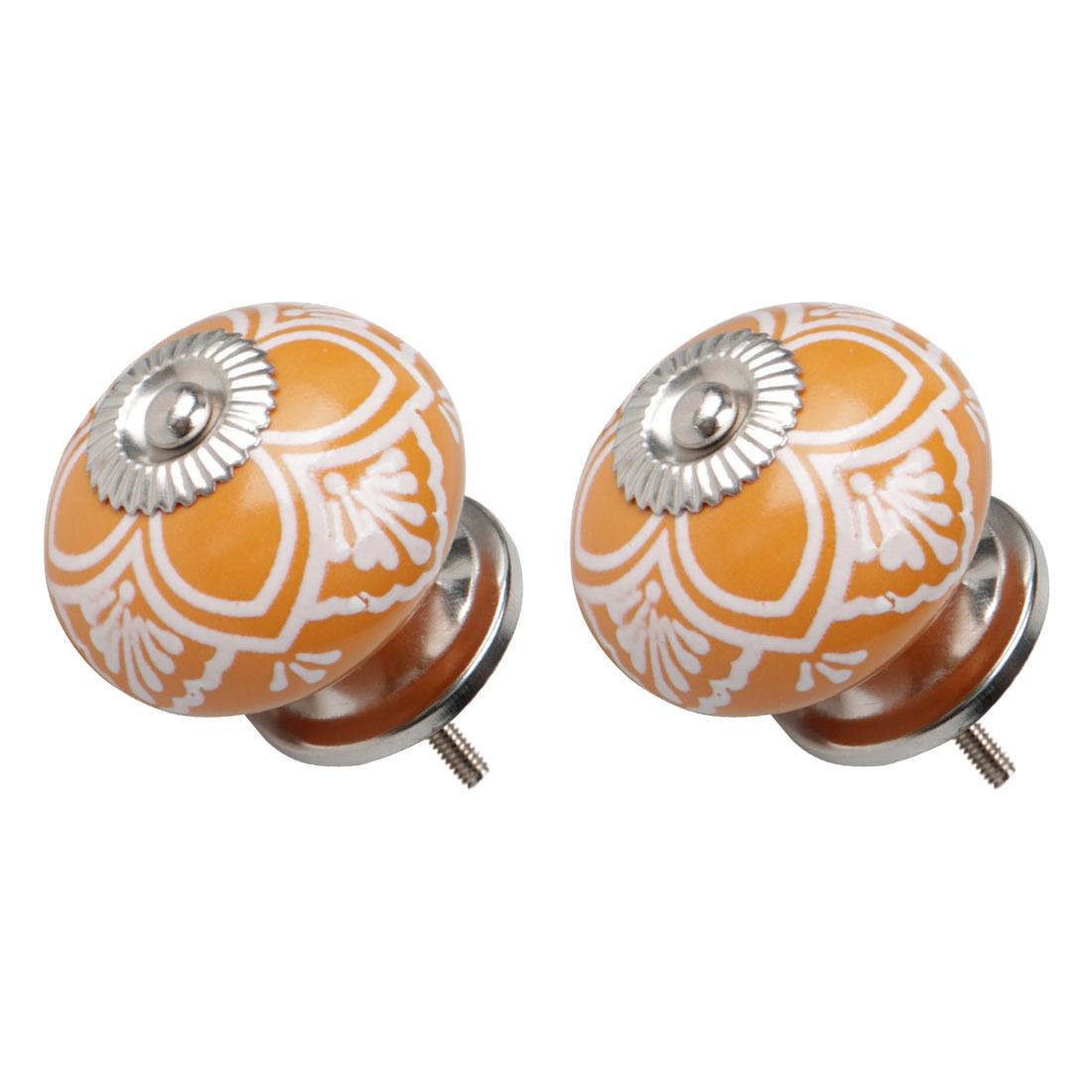 Ceramic Vintage Knob Drawers Round Pull Handle Cabinet Wardrobe Door 2pcs Yellow