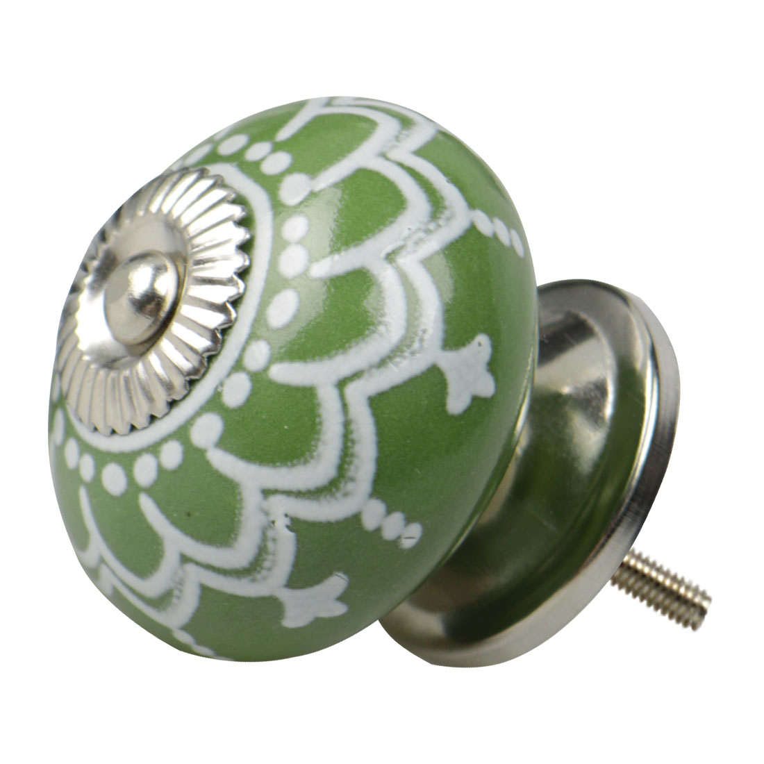 Ceramic Vintage Knob Drawers Round Pull Handle Cabinet Wardrobe Door, Green
