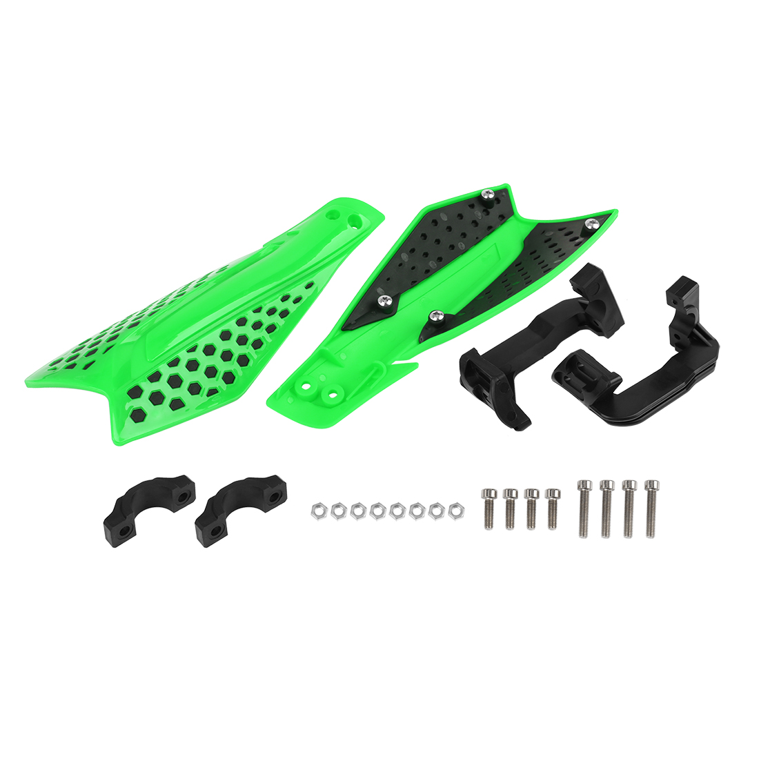 Green Black Universal Motorcycles 22mm Hand Guards Handbar Protector Set