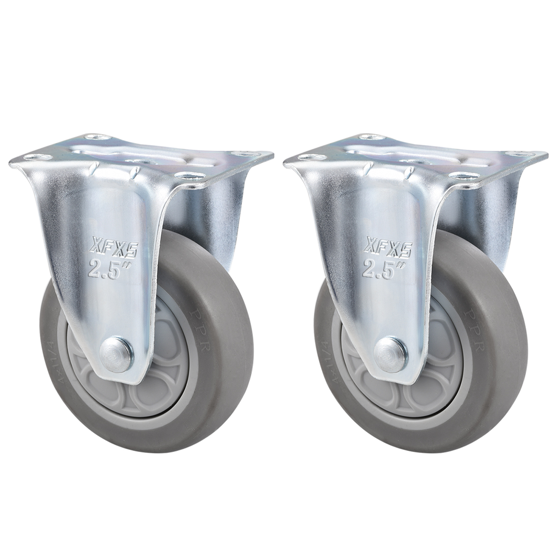 Fixed Caster Wheels 2.5inch TPR Caster Top Plate Mounted 242lb Capacity , 2pcs