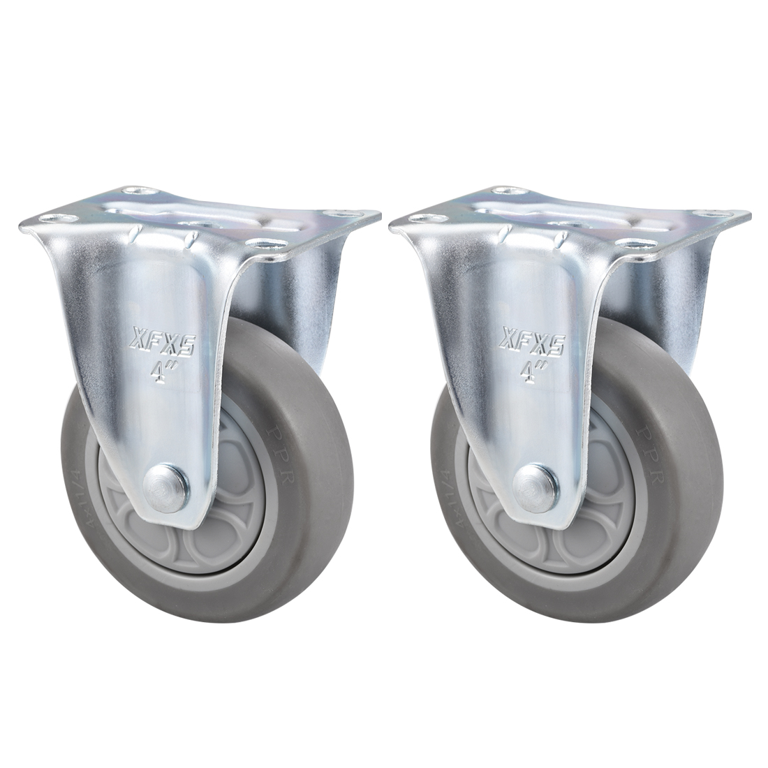 Fixed Caster Wheels 4inch TPR Caster Top Plate Mounted 286lb Capacity , 2pcs