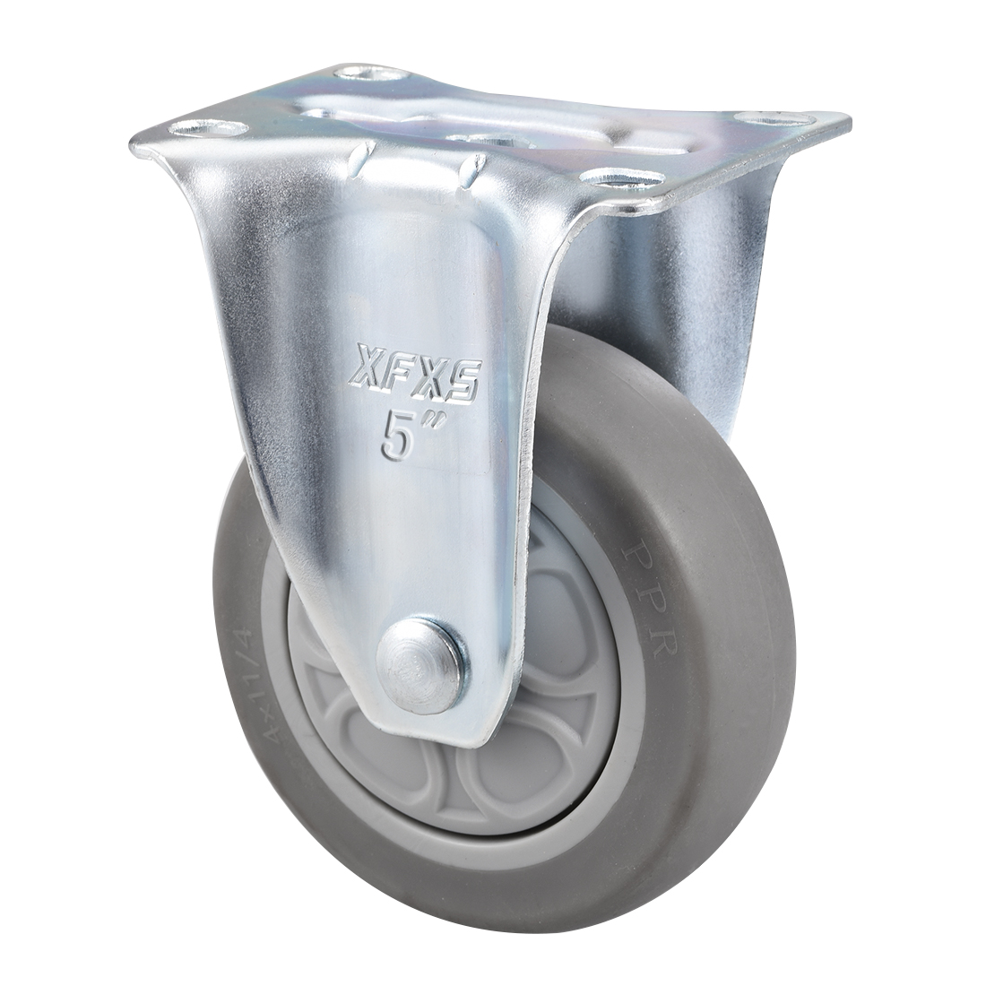 Fixed Caster Wheels 5inch TPR Caster Top Plate Mounted 308lb Capacity