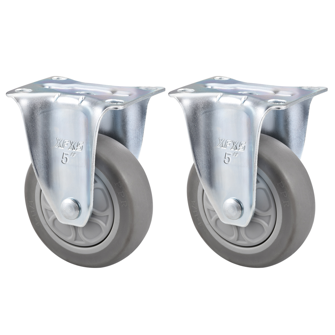 Fixed Caster Wheels 5inch TPR Caster Top Plate Mounted 308lb Capacity , 2pcs