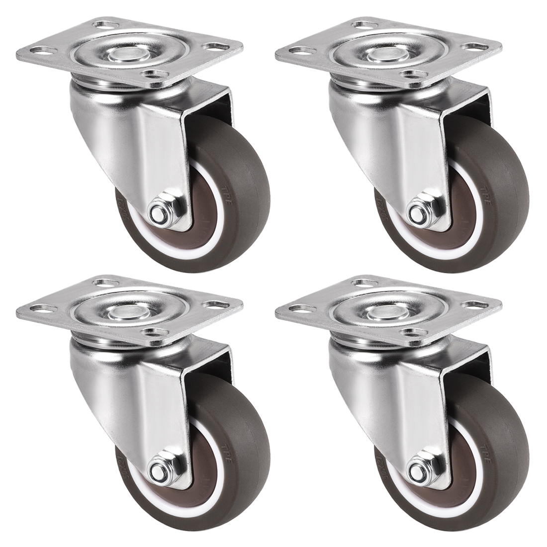 Swivel Caster Wheels 2 inch Dia TPR Caster Top Plate 77lb Capacity , 4pcs