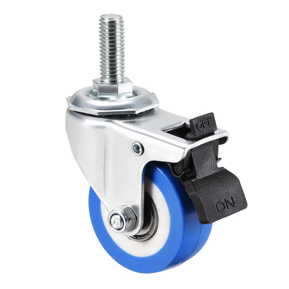 Swivel Caster Wheels PU Caster 2 Inch Wheel M10 x 25mm Threaded Stem with Brake