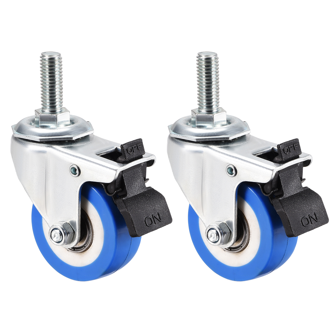 Swivel Caster Wheels PU Caster 2 Inch Wheel M10 x 25mm Thread with Brake , 2pcs