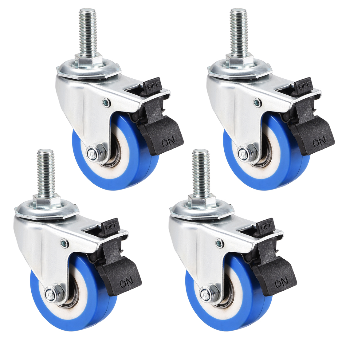 Swivel Caster Wheels PU Caster 2 Inch Wheel M10 x 25mm Thread with Brake , 4pcs