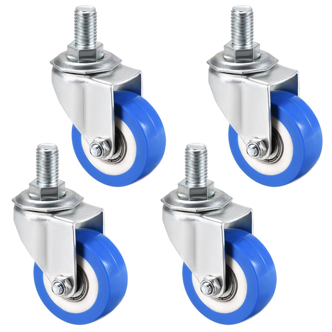 Swivel Caster Wheels PU Caster 2 Inch M12 x 20mm Thread 132lb Capacity , 4pcs