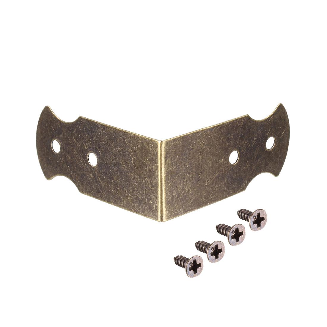 40mmx18mm Vintage Furniture Corner Protector Right Angle Bracket Guard Edge 12Pc
