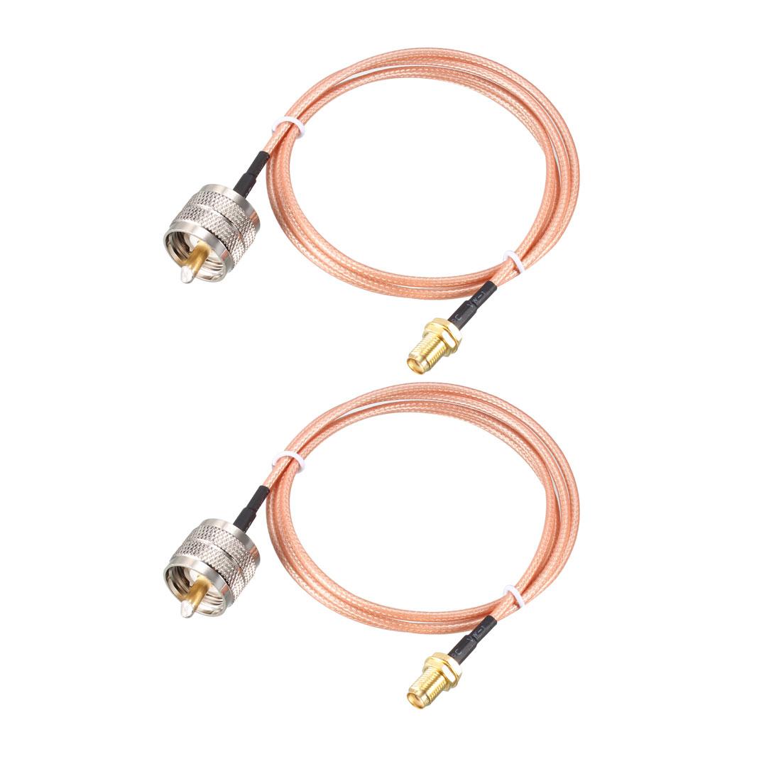 SMA Female Bulkhead to UHF PL-259 Male RG316 RF Coaxial Coax Cable 3 ft 2pcs