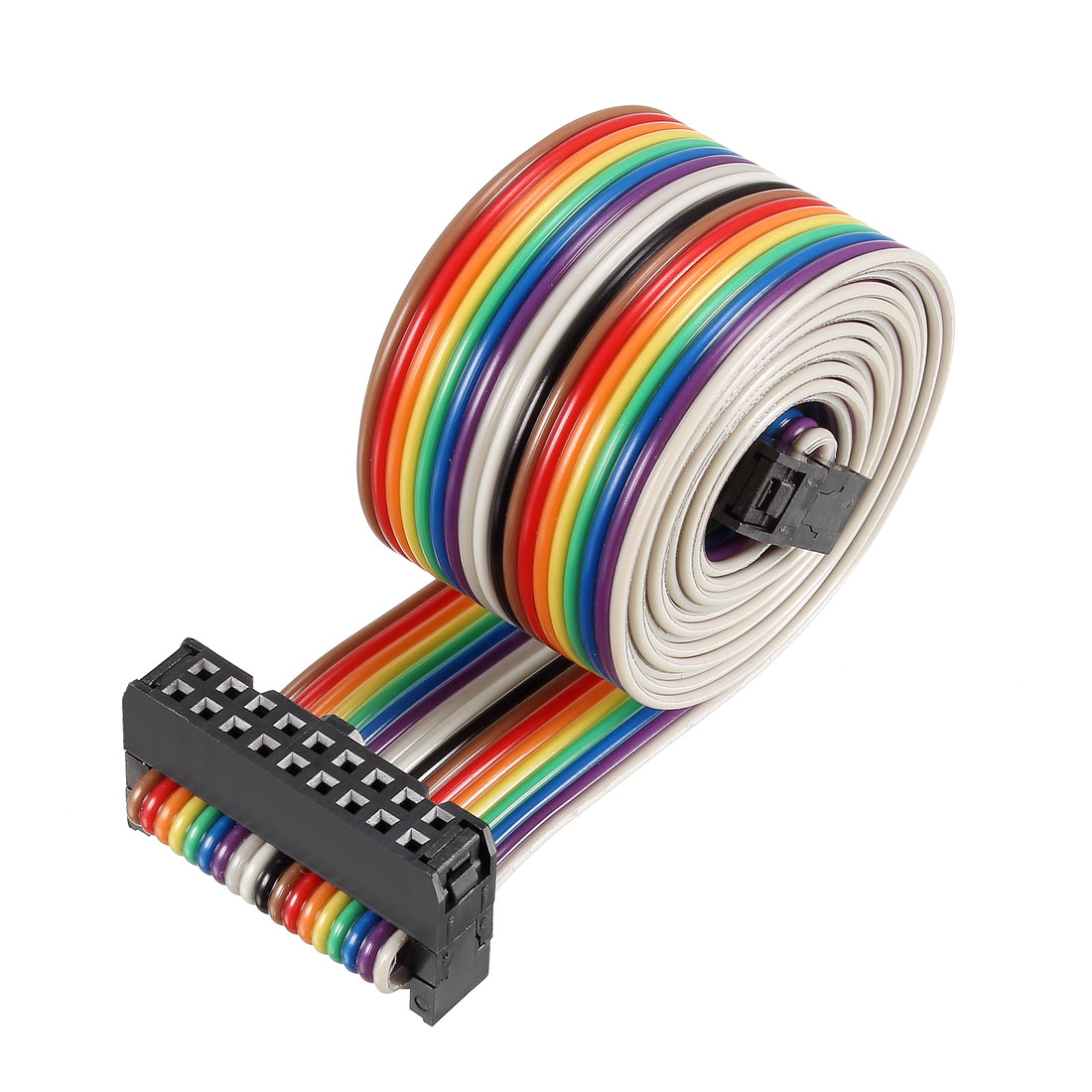 IDC Rainbow Wire Flat Ribbon Cable 18P A-type FC/FC Connector 2.54mm Pitch 1m