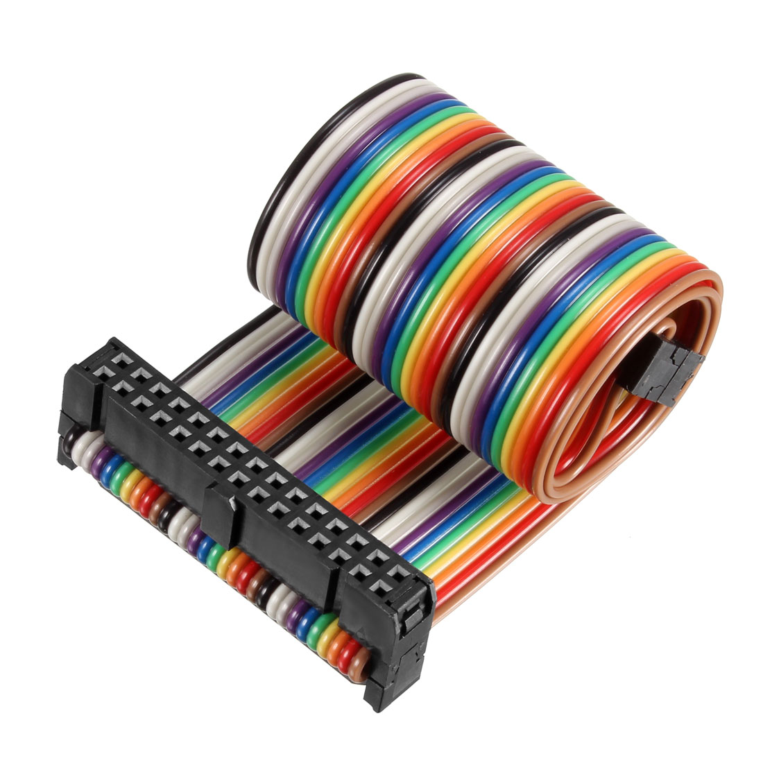 IDC Rainbow Wire Flat Ribbon Cable 30P D-type FC/FC Connector 2.54mm Pitch 0.25m