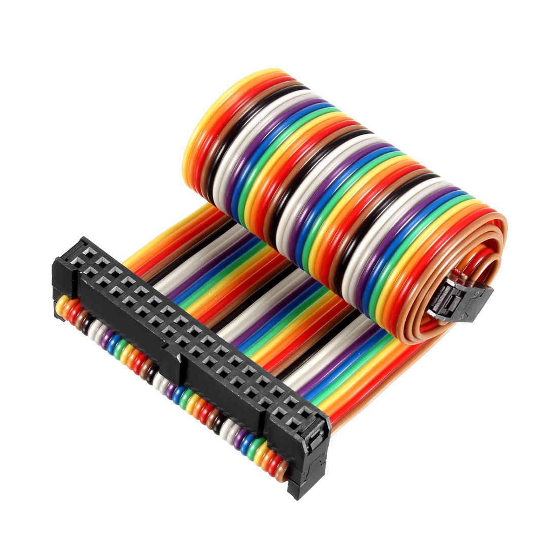 IDC Rainbow Wire Flat Ribbon Cable 34P D-type FC/FC Connector 2.54mm Pitch 0.25m