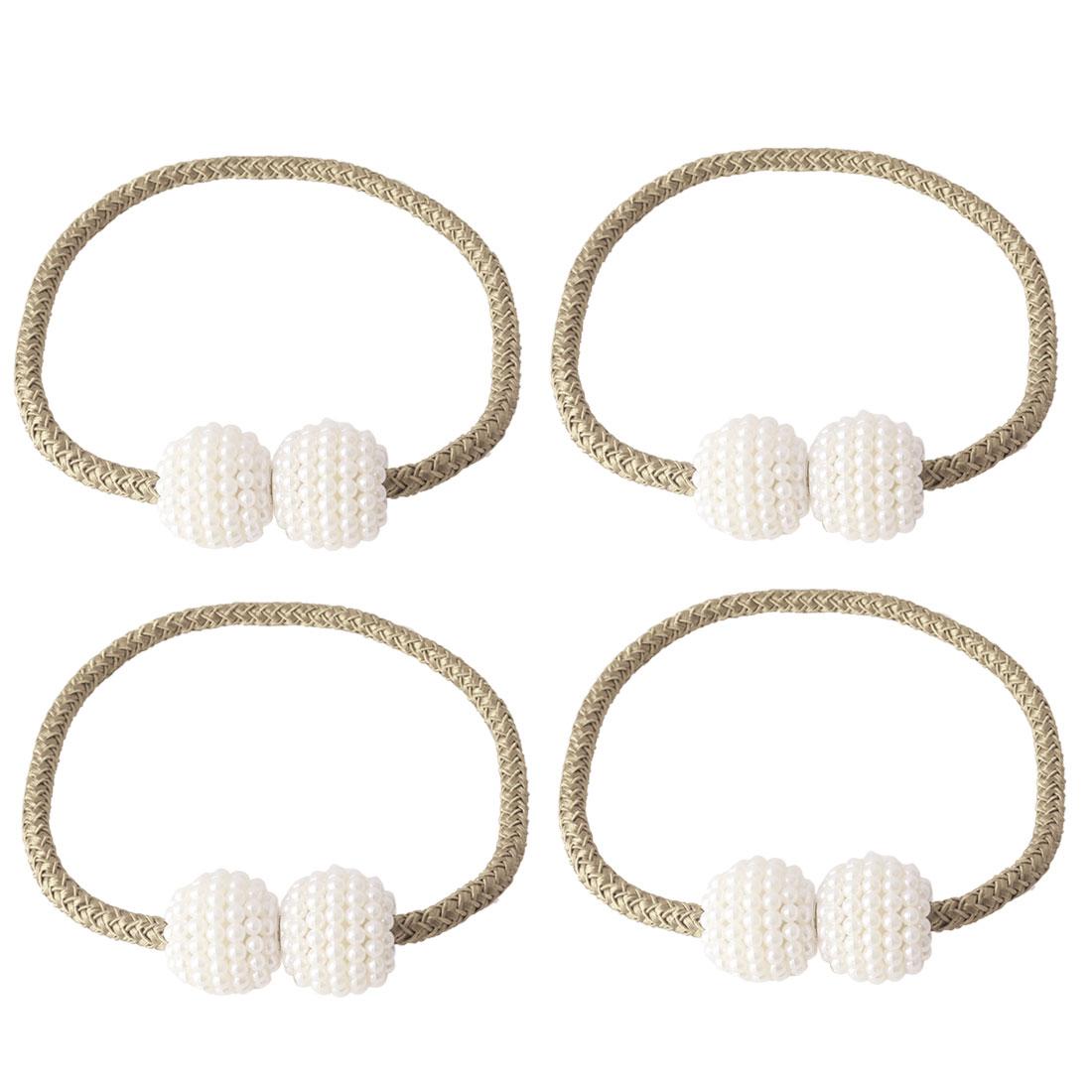 "4pcs Magnetic Curtain Tieback 19"" Holdbacks Decorative Curtain Holder, Ecru"