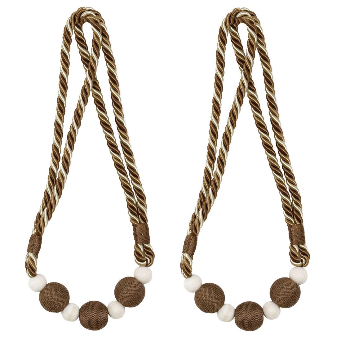 "2pcs Curtain Tieback 30"" Holdback Decorative Rope Curtain Holder Beige+Chocolate"