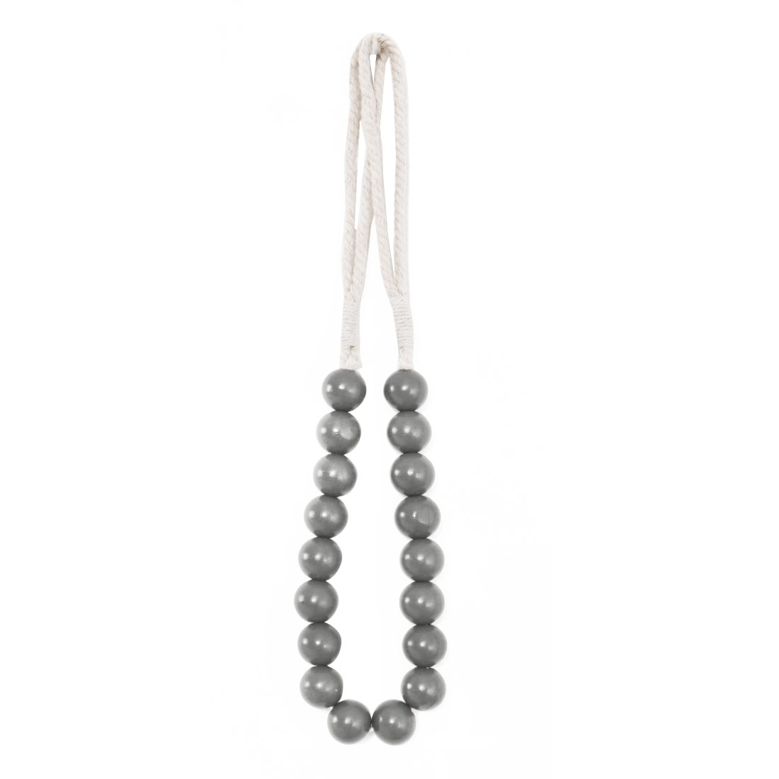 Wooden Beads Curtain Tieback Holdback Decorative Rope Curtain Holder, Gray