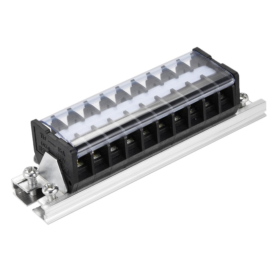 Barrier Terminal Strip Block 10P 600V 15A Dual Rows DIN Rail Base TD-1510 4pcs