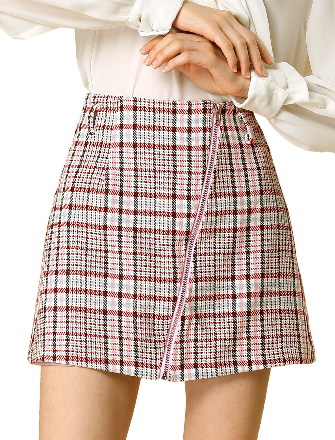 Allegra K Women's Zip High Waist Aline Plaids Skirt with Belt PINK M (US 10)